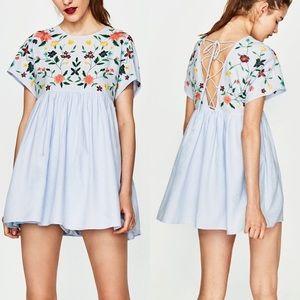Zara embroidered romper mini dress lace up back